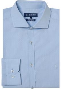Camisa Dudalina Manga Longa Fio Tinto Maquinetada Masculina (Azul Claro, 37)