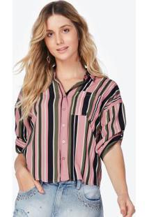 9a3f6287ec ... Camisa Manga 3 4 Listrada Rosa E Verde