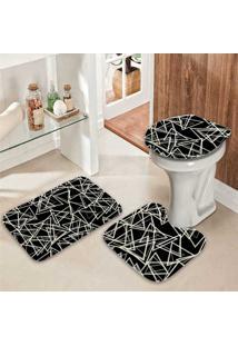 Jogo Tapetes Para Banheiro Multi Triangulos