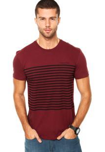 Camiseta Calvin Klein Listras Bordô