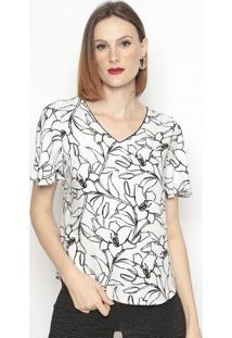 Blusa Floral Texturizada- Preta & Brancavip Reserva