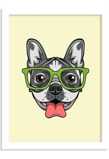 Quadro Decorativo Bulldog Francês Com Óculos Verde Branco - Grande