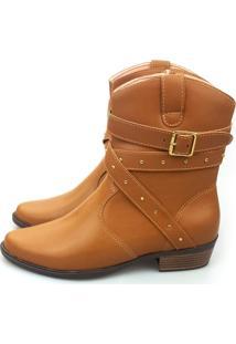 Bota Love Shoes Cano Curto Country 3 Tiras Cruzada Castor