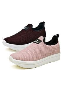 Kit 2 Pares Tenis Anabela Casual Calce Facil Vinho - Rosa