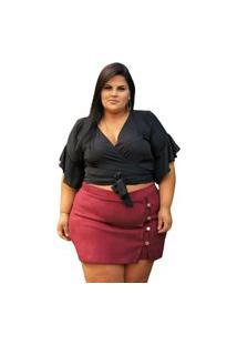 Shorts Saia Summer Body Com Botões Plus Size Bordô