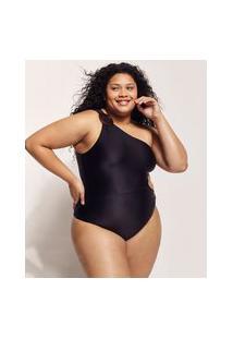 Maiô Body Feminino Plus Size Ostra Brasil Um Ombro Só Com Fivelas E Cut Out Proteção Uv50+ Preto