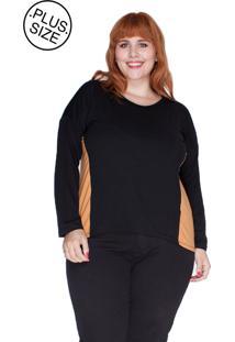 Blusa Recortes Laterais Bold Plus Size Laranja