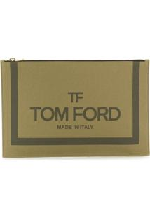 Tom Ford Logo Print Pouch - Green