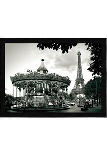 Capacho - Tapete Colours Creative Photo Decor - Carrossel E Torre Eiffel Em Paris Na França Cinza