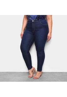 Calça Jeans Plus Size Sawary Cigarrete Push Up Bordado Cintura Média Feminina - Feminino-Azul