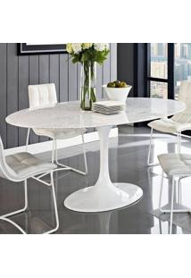 Mesa Jantar Oval Saarinen Mã¡Rmore Carrara 160X90X73 - Incolor - Dafiti