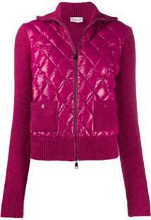 Moncler Knitted Sleeves Quilted Puffer Jacket - Rosa