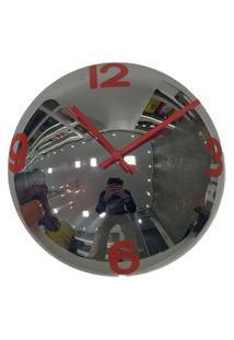 Relógio De Parede Decorativo Espelhado Cor Vermelho 28X28X10