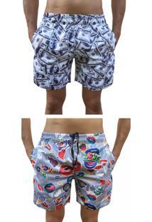 Kit 2 Bermuda Short Moda Praia Estampada Dollar E Love Boca - Kanui