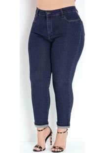 Calça Jeans Cropped Com Dobra Plus Size Sawary