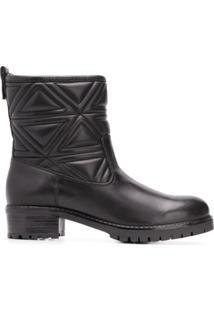 Emporio Armani Ankle Boot De Couro - Preto
