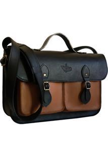 Bolsa Line Store Leather Satchel Pockets Mã©Dia Couro Premium Bicolor Preto X Marrom - Marrom - Dafiti