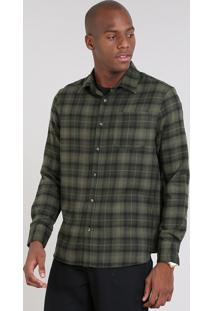 Camisa Masculina Comfort Estampada Xadrez Em Flanela Manga Longa Verde Militar