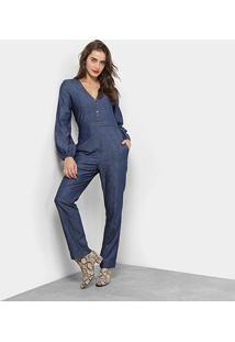 Macacão Longo Maria Filó Jeans Feminino - Feminino-Azul