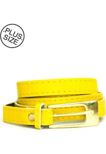 Cinto Feminino Plus Size - Confidencial Extra Fino Isa Com Fivela - Amarelo