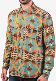 Camisa Hermoso Compadre Étnica Masculina - Masculino-Azul