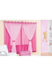 Cortina Juvenil Pink Voal Para Varão Simples 2,00M X 1,70M
