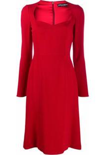 Dolce & Gabbana Vestido Midi Com Decote Em V - Vermelho