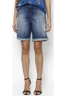 Bermuda Jeans Com Puído- Azul- Maria Valentinamaria Valentina