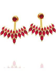 Brinco Dona Diva Semi Jóias Ear Jacket Feminino - Feminino-Dourado+Vermelho