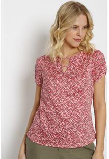 Blusa Floral Com Recorte & Tiras-Off White & Rosa Escurovip Reserva