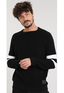 Suéter Masculino Com Listras E Textura Em Tricô Gola Careca Preto