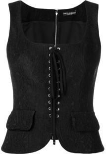 Dolce & Gabbana Blusa Estilo Espartilho Em Jacquard - Preto