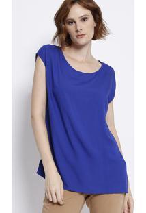 Blusa Lisa Com Sobreposiã§Ã£O - Azul Escuro - Malweemalwee