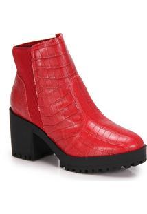 Ankle Boots Salto Grosso Moleca Tratorada - Vermelho
