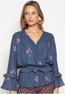 Blusa Floral - Azul Marinho & Vermelhaenna