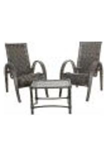 Conjunto 2 Cadeiras Napoli E Mesa De Centro Fibra Sintetica Pedra Ferro