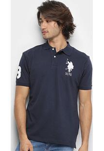 Camisa Polo U.S. Polo Assn Piquet Bordado Masculina - Masculino-Azul Escuro
