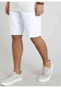 Bermuda Masculina Estampada De Coqueiros Branca