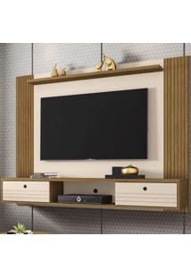 Painel Para Tv Até 60 Polegadas Ametista 2 Portas Cinamomo/Off-White/Ripado - Móveis Bechara