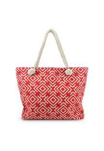 Bolsa De Praia Estampada Com Alça De Corda Jacki Design Vermelho Geométrica