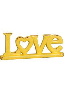 Escultura Decorativa Love Coração Amarela