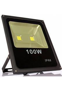 Refletor Led Slim 100W Branco Quente (Amarelo) Uso Externo