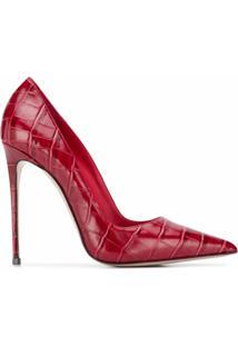 Le Silla Sapato Eva De Couro Com Efeito De Pele De Crocodilo - Vermelho