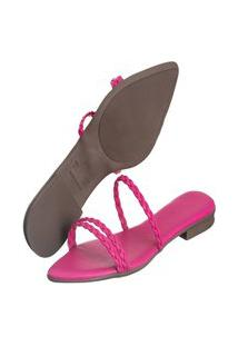 Sandália Rasteira Feminina Bico Fino Pink