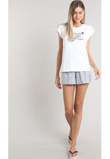 Pijama Feminino Dumbo Estampado Manga Curta Off White