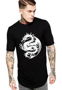 Camiseta Criativa Urbana Oversized Dragaotribal - Masculino-Preto