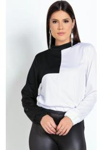 Casaco Preto E Branco Contrastante