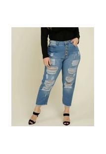 Calça Plus Size Feminina Mom Jeans Destroyed Razon