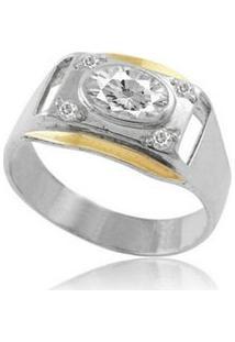Anel De Prata Com Filete De Ouro E Zircônia Oval - Feminino-Prata