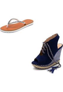 Kit Sandã¡Lia Anabela Salto Alto Em Camurã§A Azul Marinho E Chinela Feminina Rasteira - Azul Marinho - Feminino - Dafiti